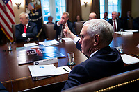 U.S. Vice President Mike Pence gives a thumbs up during a cabinet meeting in the Cabinet Room of the White House, on Wednesday, Jan. 2, 2019 in Washington, D.C. Photo Credit: Al Drago/CNP/AdMedia