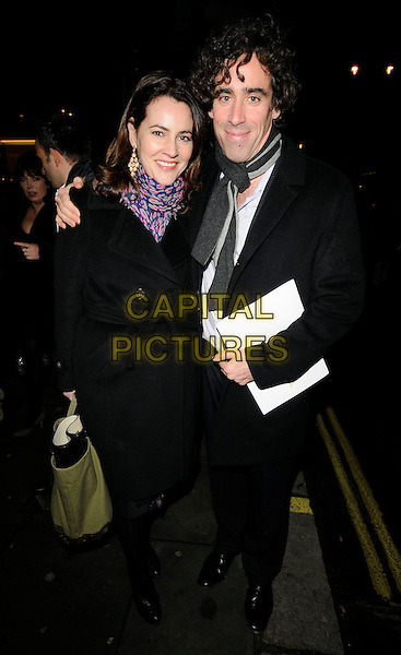 GUEST & STEPHEN MANGAN .At the Gala Performance of 'Legally Blonde' the musical at The Savoy Theatre, London, England. .January 13th, 2010..Arrivals full length black coat grey gray scarf purple print belt belted .CAP/CAN.©Can Nguyen/Capital Pictures