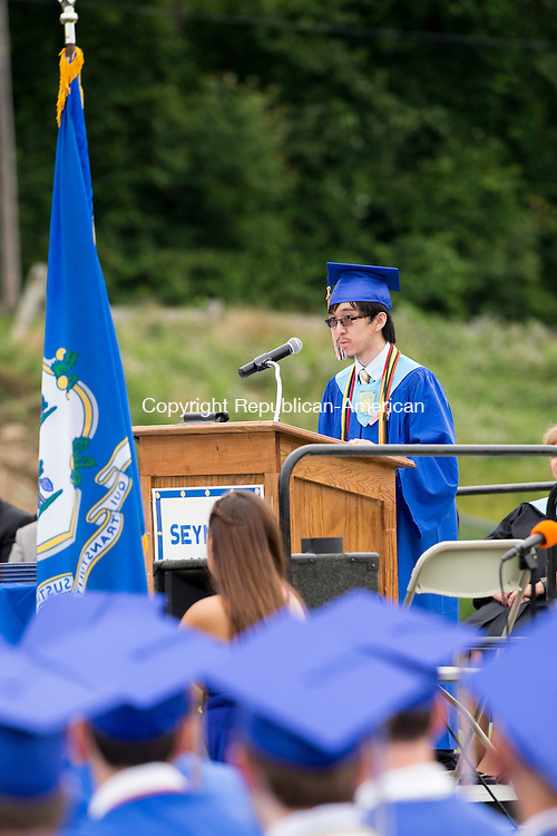 SEYMOUR, CT-17 June 2015-061715EC06-  Valedictorian Nathan Hom delivers a speech during Seymour High School's graduation Wednesday night. Seymour's 128th annual commencement was held on the school's football field. Erin Covey Republican-American