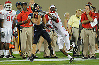 11 September 2010:  FIU wide receiver Greg Ellingson (82) pulls in a reception despite the efforts of Rutgers cornerback Brandon Bing (23) in the first quarter as the Rutgers Scarlet Knights defeated the FIU Golden Panthers, 19-14, at FIU Stadium in Miami, Florida.