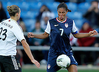 US's Shannon Boxx fights for the ball with Germany's Josephine Henning during their Algarve Women's Cup soccer match at Algarve stadium in Faro, March 13, 2013.  .Paulo Cordeiro/ISI