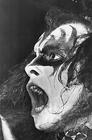 Kiss Bass player Gene Simmons. , 1976<br /> <br /> PHOTO : Griffin, Doug