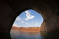 View from inside large sandstone cave, Lake Powell, Utah