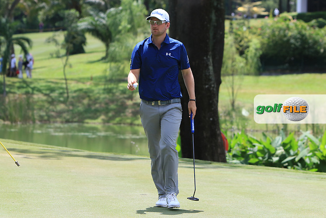 Bernd Wiesberger (AUT) on the 17th green during Round 4 of the Maybank Championship on Sunday 12th February 2017.<br /> Picture:  Thos Caffrey / Golffile<br /> <br /> All photo usage must carry mandatory copyright credit     (&copy; Golffile | Thos Caffrey)