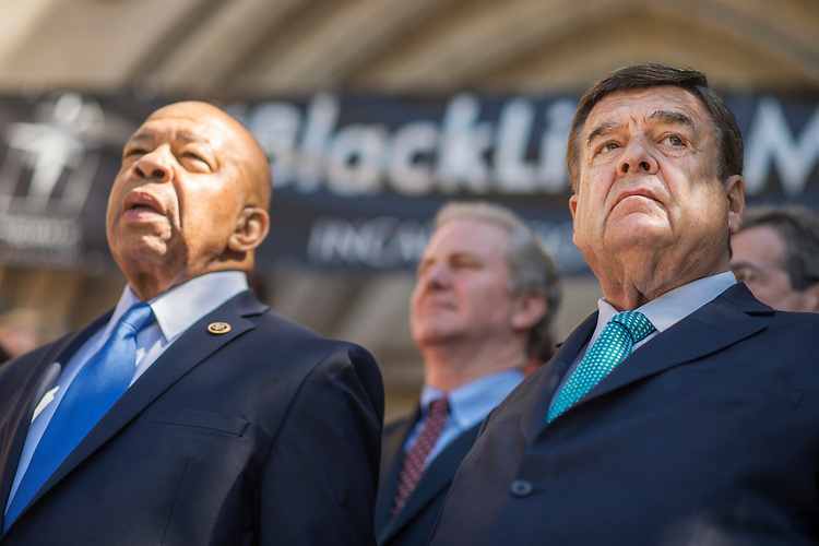 UNITED STATES - JUNE 29: Reps. Dutch Ruppersberger, D-Md., right, and Elijah Cummings, D-Md., attend a rally with lawmakers and gun violence victims to call for action on gun safety measures on the steps of the Cathedral of the Incarnation in Baltimore, Md., June 29, 2016. Reps. Chris Van Hollen, D-Md., and John Sarbanes, D-Md., also attended the event. (Photo By Tom Williams/CQ Roll Call)
