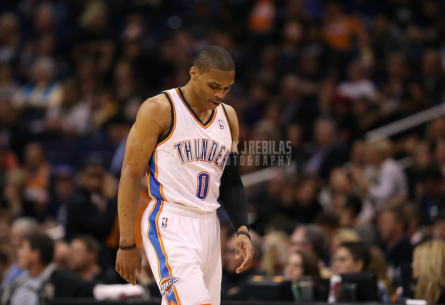 Feb. 10, 2013; Phoenix, AZ, USA: Oklahoma City Thunder point guard Russell Westbrook reacts against the Phoenix Suns at the US Airways Center. Mandatory Credit: Mark J. Rebilas-
