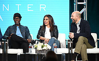"""PASADENA, CA - JANUARY 31: (L-R) Don Cheadle, Regina Hall, and Paul Scheer of """"Black Monday"""" attend the Showtime portion of the 2019 Television Critics Association Winter Press Tour at the Langham Huntington on January 31, 2019, in Pasadena, California. (Photo by Frank Micelotta/PictureGroup)"""