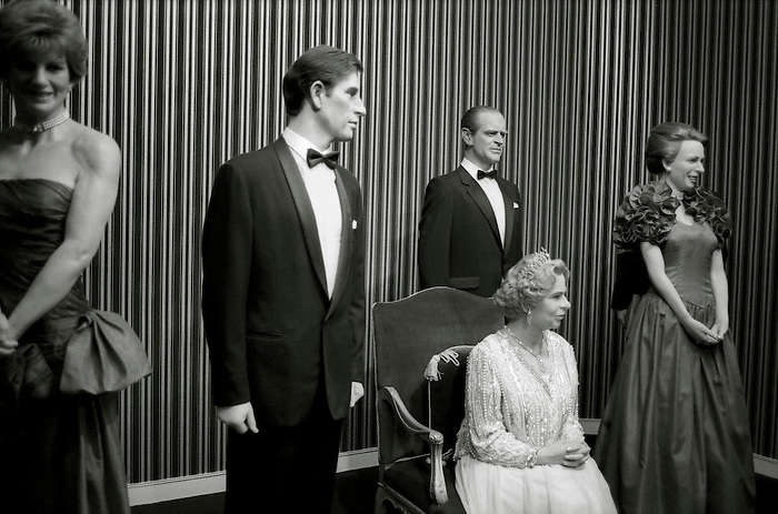 Life-size waxwork models of the British Royal family - Princess Diana, Prince Charles, Prince Philip,  Queen Elizabeth II, Princess Anne - at a museum - Louis Tussauds - in Blackpool. England 1994.