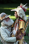 young Native American Indian boy talking mountainman buckskinner