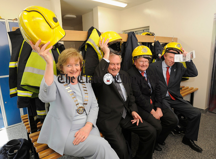Hats Off To Shannon Fire Station....Mayor of Clare Madeleine Taylor Quinn,  Junior minister Michael Finneran,  Cllr. Pat Mc Mahon and TD Timmy Dooley at the official opening of Shannon Fire Station. Photograph by John Kelly.