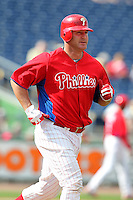 Philadelphia Phillies designated hitter Jim Thome #25 jogs to first after a walk during a scrimmage against the Florida State Seminoles at Brighthouse Field on February 29, 2012 in Clearwater, Florida.  Philadelphia defeated Florida State 6-1.  (Mike Janes/Four Seam Images)