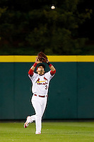 Jose Garcia (3) of the Springfield Cardinals catches a fly ball during a game against the Northwest Arkansas Naturals on May 13, 2011 at Hammons Field in Springfield, Missouri.  Photo By David Welker/Four Seam Images.
