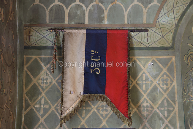 Pennant of a Russian brigade on display in the Orthodox Chapel, designed by Albert Benois and built 1936-37, Saint-Hilaire-le-Grand, Marne, Champagne-Ardenne, France, honouring the 6,100 Russian soldiers killed on French battlefields, in memory of the Franco-Russian military alliance celebrated at the visit of Czar Nicholas II to Champagne in 1896 and 1901. The chapel was built with funds from the Association du Souvenir du Corps Expeditionnaire Russe. 1,000 Russian soldiers from 2 brigades who fought on the French front in 1916-18 are buried in the adjoining cemetery. The site is listed as a historic monument. Picture by Manuel Cohen