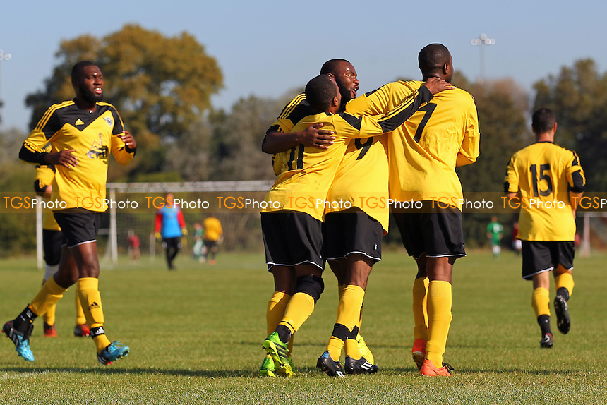 Boroughs United celebrates their first goal - Bocca Albion (blue/white) vs Boroughs United - Hackney & Leyton Sunday League Football at South Marsh, Hackney Marshes, London - 05/10/14 - MANDATORY CREDIT: Gavin Ellis/TGSPHOTO - Self billing applies where appropriate - contact@tgsphoto.co.uk - NO UNPAID USE