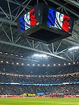 Solna 2015-11-14 Fotboll EM-kval , Sverige - Danmark :  <br /> Vy &ouml;ver Friends Arena med en fransk flagga under en tyst minut f&ouml;r offren under ett terrorattentat i Paris inf&ouml;r matchen mellan Sverige och Danmark <br /> (Photo: Kenta J&ouml;nsson) Keywords:  Sweden Sverige Solna Stockholm Friends Arena EM Kval EM-kval UEFA Euro European 2016 Qualifying Qualifier Playoff Denmark Danmark inomhus interi&ouml;r interior sorg supporter fans publik supporters