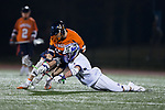 Davis Sampere (37) of the High Point Panthers battles for the ball with Justin Schwenk (36) of the Virginia Cavaliers following a face-off during first half action at Vert Track, Soccer & Lacrosse Stadium on February 20, 2018 in High Point, North Carolina.  The Cavaliers defeated the Panthers 18-12.  (Brian Westerholt/Sports On Film)