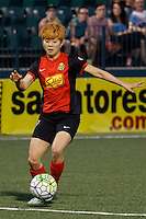 Rochester, NY - Friday May 27, 2016: Western New York Flash midfielder Jeon Ga-Eul (7). The Western New York Flash defeated the Boston Breakers 4-0 during a regular season National Women's Soccer League (NWSL) match at Rochester Rhinos Stadium.