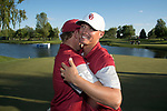 SUGAR GROVE, IL - MAY 31: Max McGreevy and Brad Dalke of the University of Oklahoma celebrate during the Division I Men's Golf Team Championship held at Rich Harvest Farms on May 31, 2017 in Sugar Grove, Illinois. Oklahoma won the team national title. (Photo by Jamie Schwaberow/NCAA Photos via Getty Images)