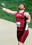 SIOUX FALLS, SD - MAY 3:  Jack Lembcke from Roosevelt throws the shot during the finals Saturday at the 2014 Howard Wood Dakota Relays. (Photo by Dave Eggen/Inertia)