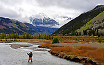 TELLURIDE, CO:  A general view of a fly fisherman in Telluride, Colorado. (Photo by Donald Miralle for Conde Nast Travler)
