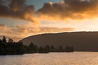 Sunset over Lake Mapourika near Franz Josef Glacier, Westland NP, West Coast, South Westland, New Zealand