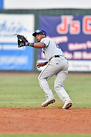 Princeton Rays shortstop Wander Franco (6) reacts to the ball during game two of the Appalachian League Championship Series against the Elizabethton Twins at Joe O'Brien Field on September 5, 2018 in Elizabethton, Tennessee. The Twins defeated the Rays 2-1 to win the Appalachian League Championship. (Tony Farlow/Four Seam Images)