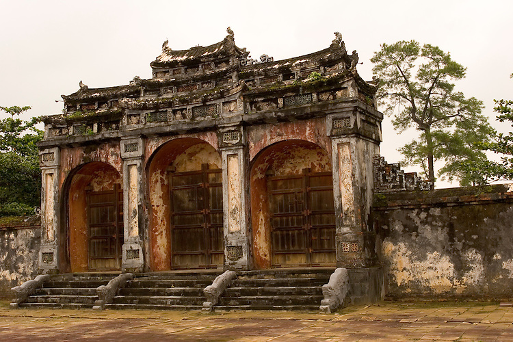 Main gate of Minh Mang tomb outside of Hue, central Vietnam