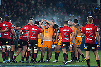 Agustin Creevy packs down for a scrum during the 2019 Super Rugby final between the Crusaders and Jaguares at Orangetheory Stadium in Christchurch, New Zealand on Saturday, 6 July 2019. Photo: Dave Lintott / lintottphoto.co.nz