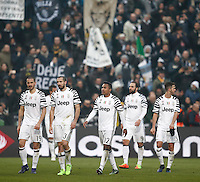 Calcio, Serie A: Sassuolo vs Juventus. Reggio Emilia, Mapei Stadium, 29 gennaio 2017. <br /> Juventus players, from left, Leonardo Bonucci, Giorgio Chiellini, Alex Sandro, Gonzalo Higuain and Miralem Pjanic, leave the pitch at the end of the Italian Serie A football match between Sassuolo and Juventus at Reggio Emilia's Mapei stadium, 29 January 2017. Juventus won 2-0.<br /> UPDATE IMAGES PRESS/Isabella Bonotto