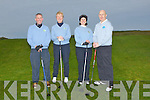 The presidents Marion Bourke (Lady President) and Mike Burrows (Present) joyined the Captains of Castlegregory Golf Club Seamus Cronin and Isabel Mancera (Lady Captain) Drive in on Sunday at Castlegregory.,