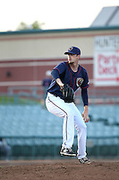 Evan Grills (21) of the Lancaster JetHawks pitches against the Visalia Rawhide at The Hanger on May 7, 2016 in Lancaster, California. Lancaster defeated Visalia, 19-5. (Larry Goren/Four Seam Images)