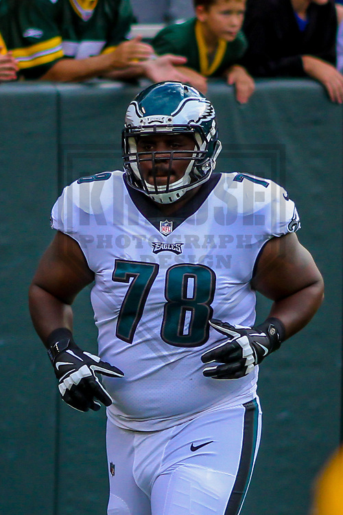 Philadelphia Eagles guard Darrell Greene (78) during a preseason football game against the Green Bay Packers on August 10, 2017 at Lambeau Field in Green Bay, Wisconsin. Green Bay defeated Philadelphia 24-9.  (Brad Krause/Krause Sports Photography)