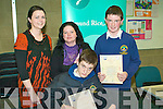 At the Edmund Rice Awards at the IT Tralee on Thursday were students from Dingle Agnes Gleeson Teacher,  Fiona Kennedy, John Knightly and John Forde.