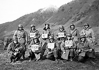 Missouri infantrymen with the 19th Inf. Regt. along the Kumsong front wish Happy New Year to the stateside folks.  December 14, 1951.  Cpl. Mervyn Lew.  (Army)<br /> NARA FILE #:  111-SC-387519<br /> WAR &amp; CONFLICT BOOK #:  1399