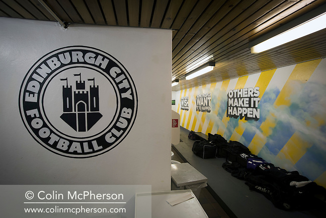 An view of the home dressing room at the Commonwealth Stadium at Meadowbank before the Scottish Lowland League match between Edinburgh City and city rivals Spartans, which was won by the hosts by 2-0. Edinburgh City were the 2014-15 league champions and progressed to a play-off to decide whether there would be a club promoted to the Scottish League for the first time in its history. The Commonwealth Stadium hosted Scottish League matches between 1974-95 when Meadowbank Thistle played there.