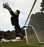 Reece Crowther saves during the Wellington Phoenix A-League football training session Training Session at Newtown Park, Wellington, New Zealand on Monday, 4 May 2009. Photo: Dave Lintott / lintottphoto.co.nz