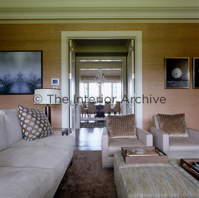 Colours in the sitting room tend to be light with an emphasis on natural materials