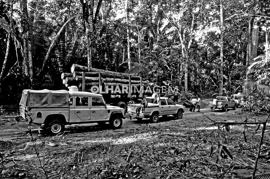 Corte ilegal de mogno apreendido pelos fiscais do IBAMA. Pará. 1999. Foto de Juca Martins.