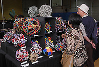Colorful modular origami designed and folded by Byriah Loper, Kentucky, USA, on display at the OrigamiUSA 2013 Convention exhibition.