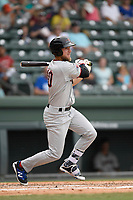 Third baseman Charles Leblanc (10) of the Hickory Crawdads bats in a game against the Greenville Drive on Sunday, July 16, 2017, at Fluor Field at the West End in Greenville, South Carolina. Hickory won, 3-1. (Tom Priddy/Four Seam Images)
