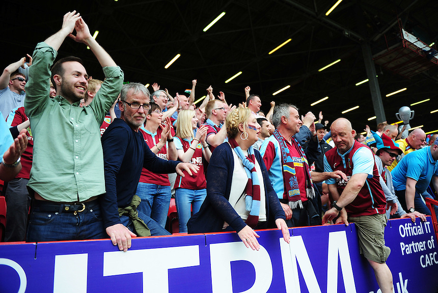 Burnley fans celebrate their side becoming champions<br /> <br /> Photographer Kevin Barnes/CameraSport<br /> <br /> Football - Sky Bet Football League Championship - Charlton Athletic v Burnley - Saturday 7th May 2016 - The Valley - London<br /> <br /> &copy; CameraSport - 43 Linden Ave. Countesthorpe. Leicester. England. LE8 5PG - Tel: +44 (0) 116 277 4147 - admin@camerasport.com - www.camerasport.com