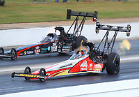 May 6, 2017; Commerce, GA, USA; NHRA top fuel driver Doug Kalitta (near) races alongside Scott Palmer during qualifying for the Southern Nationals at Atlanta Dragway. Mandatory Credit: Mark J. Rebilas-USA TODAY Sports