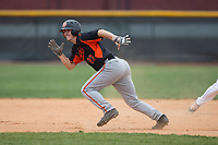 Austin Beck (23) of the North Davidson Knights takes off for third base against the Alexander Central Cougars at Bob Gryder Stadium on March 25, 2017 in Taylorsville, North Carolina.  The Knights defeated the Cougars 3-0.  (Brian Westerholt/Four Seam Images)
