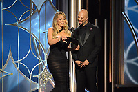 Mariah Carey and Common on stage at the 75th Annual Golden Globe Awards at the Beverly Hilton in Beverly Hills, CA on Sunday, January 7, 2018.<br /> *Editorial Use Only*<br /> CAP/PLF/HFPA<br /> &copy;HFPA/PLF/Capital Pictures