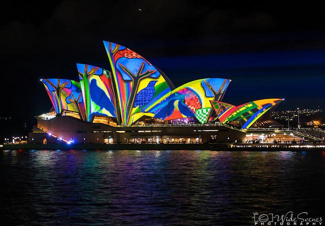The Sydney Opera House illuminated during the 2016 Vivid Light Festival.