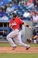 Frisco Rough Riders first baseman Guilder Rodriguez (6) at bat during the second game of a doubleheader against the Tulsa Drillers on May 29, 2014 at ONEOK Field in Tulsa, Oklahoma.  Frisco defeated Tulsa 3-2.  (Mike Janes/Four Seam Images)