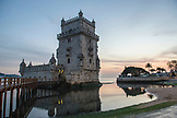 PORTUGAL, Lisbon, The facade of Belem Tower at Dusk, The Tejo River in the back