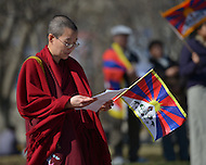 March 10, 2013  (Washington, DC)  On the 54th anniversary of the National Tibetan Uprising of 1959, a few hundred Tibetan-Americans protested against China's abuse of the Tibetan people in front of the White House in Washington.  (Photo by Don Baxter/Media Images International)