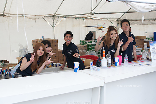 Catering staff at the 2015 Red Bull Air Race on May 16th, 2015 in Chiba, Japan.<br /> This is the first time the Red Bull Air Race has been held in Japan and some 120,000 spectators attended the the race weekend. (Photo by Michael Steinebach/Aflo)