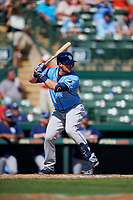 Tampa Bay Rays third baseman Christian Arroyo (22) at bat during a Grapefruit League Spring Training game against the Baltimore Orioles on March 1, 2019 at Ed Smith Stadium in Sarasota, Florida.  Rays defeated the Orioles 10-5.  (Mike Janes/Four Seam Images)